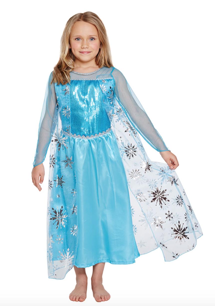 """a48ef4e5 ... kjole som efterligner Elsas kjole fra Disneyfilmen """"Frost"""". Kjolen har  en farvekombination af blå, lyseblå og hvid, og den har mange smukke  detaljer og ..."""