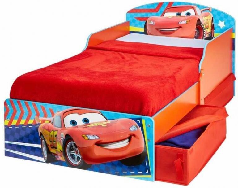 Cars børneseng med skuffer - Mcqueen juniorseng - Cars seng de mindste