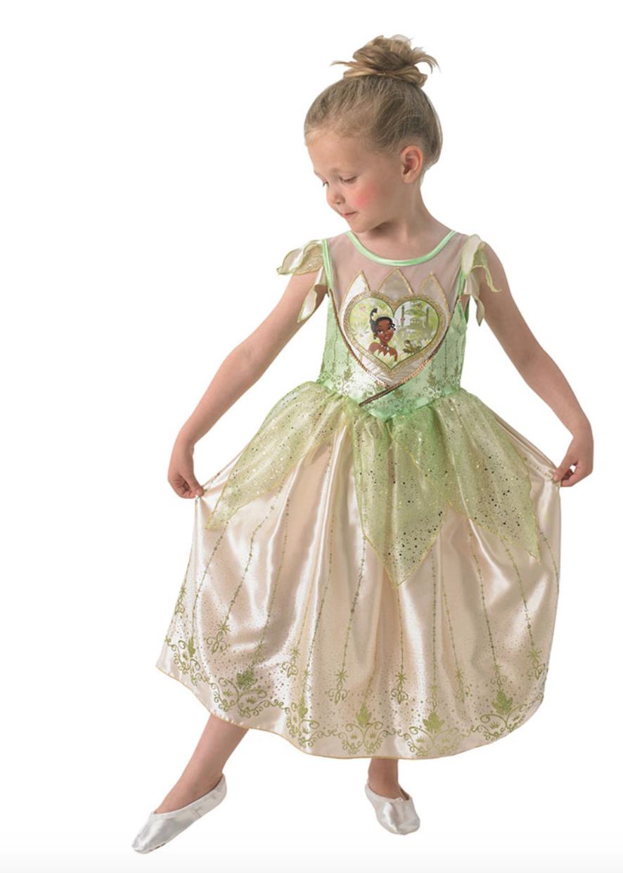 tiana kostume til børn, tiana udklædning til børn, disney prinsesse udklædning til børn, disney prinsesse kostume til børn, alletiders disney