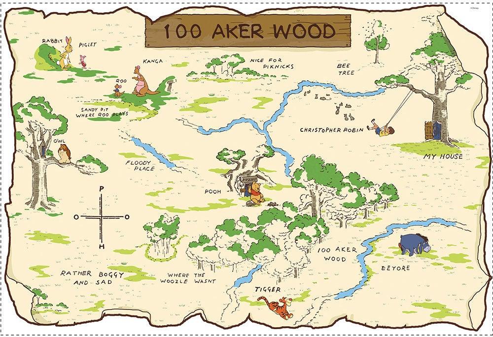 peter plys hundredemeter skoven kort - Peter Plys børneværelse - find inspiration til indretning
