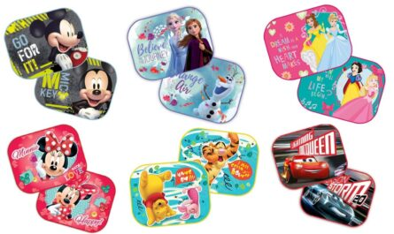 Disney solskærme til bil, disney solafskærmning til bil, solskærme med disney motiv, solskærme til børn, farverige solskærme til bil
